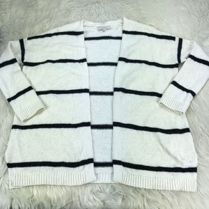 LOFT Oversized Striped Open Front Cardigan